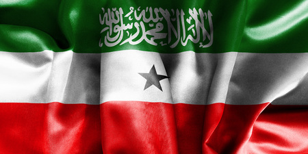 creased: Somaliland flag texture creased and crumpled up with light and shadows