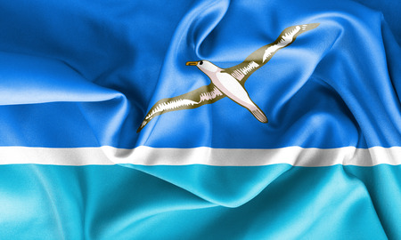 creased: Midway Islands flag texture creased and crumpled up with light and shadows