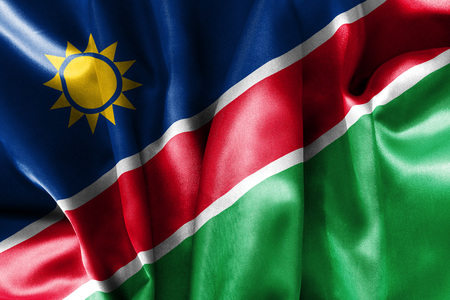 scrunch: Namibia flag texture creased and crumpled up with light and shadows