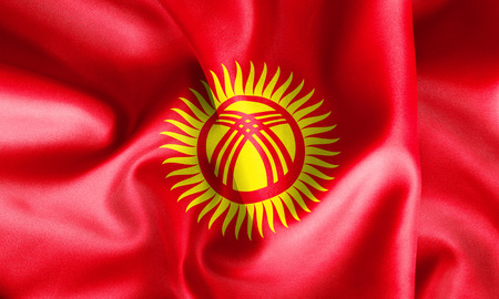 creased: Kyrgyzstan flag texture creased and crumpled up with light and shadows Stock Photo