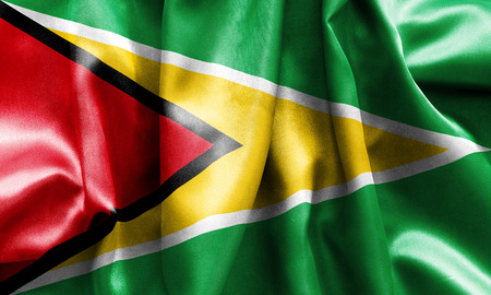 creased: Guyana flag texture creased and crumpled up with light and shadows Stock Photo
