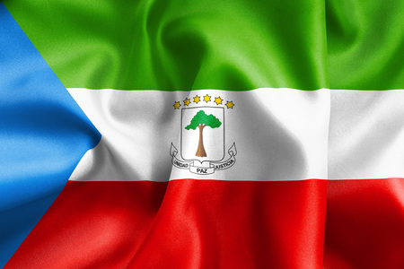 creased: Equatorial Guinea flag texture creased and crumpled up with light and shadows Stock Photo