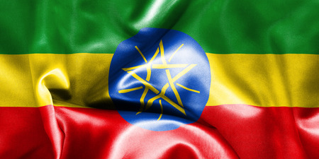 creased: Ethiopia flag texture creased and crumpled up with light and shadows Stock Photo