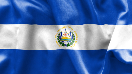 scrunch: El Salvador flag texture creased and crumpled up with light and shadows Stock Photo