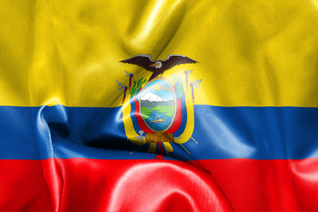 republic of ecuador: Ecuador flag texture creased and crumpled up with light and shadows