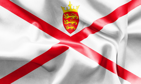 scrunch: Jersey flag texture creased and crumpled up with light and shadows Stock Photo