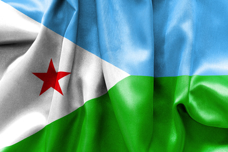 creased: Djibouti flag texture creased and crumpled up with light and shadows