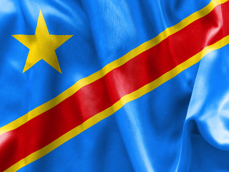 scrunch: Democratic Republic of the Congo flag texture creased and crumpled up with light and shadows