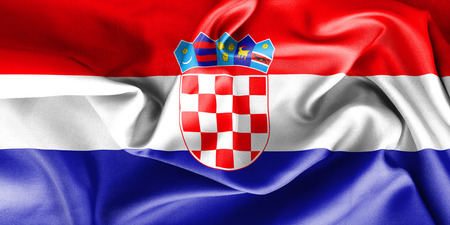 creased: Croatia flag texture creased and crumpled up with light and shadows