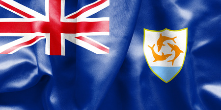 scrunch: Anguilla flag texture creased and crumpled up with light and shadows Stock Photo