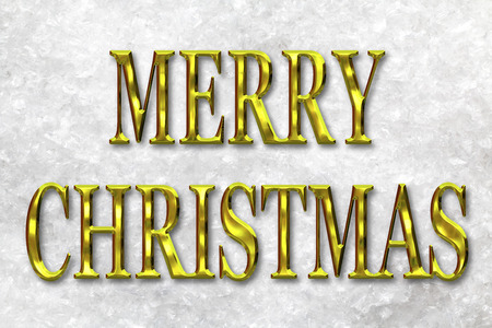 gold letters: Merry Christmas greeting message in gold letters against a snow background Foto de archivo