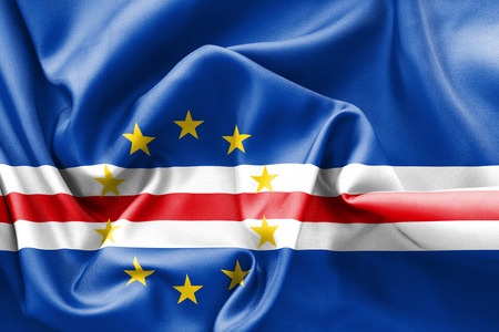 creased: Cape Verde flag texture creased and crumpled up with light and shadows Stock Photo