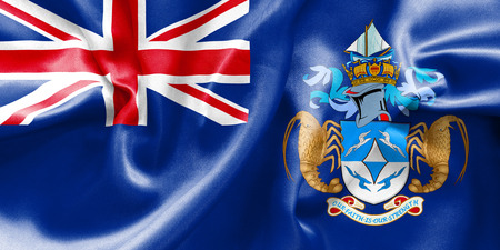creased: Tristan da Cunha flag texture creased and crumpled up with light and shadows