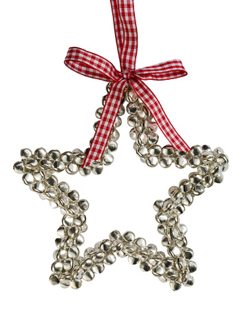 star path: Silver bells Christmas star decoration with a red and white bow on an isolated white background with a clipping path Stock Photo