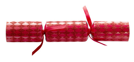 Red Christmas cracker on an isolated white background with a clipping path