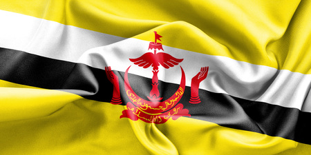 creased: Brunei flag texture creased and crumpled up with light and shadows