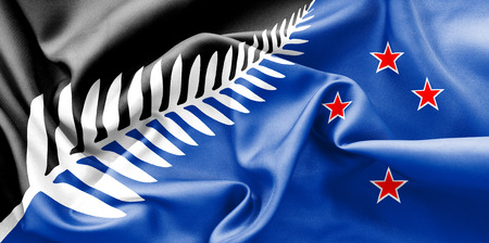 creased: New Zealand 2015 flag texture creased and crumpled up with light and shadows