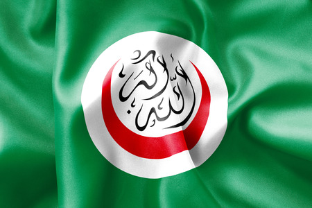 scrunch: Islamic Conference flag texture creased and crumpled up with light and shadows