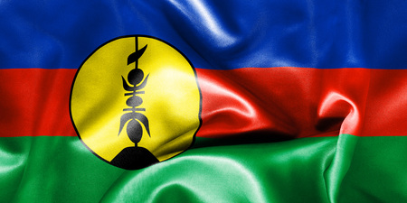 oceania: New Caledonia flag texture creased and crumpled up with light and shadows