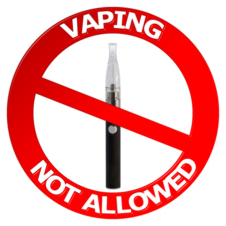 background e cigarette: Vaping not allowed sign with vaporizer Stock Photo
