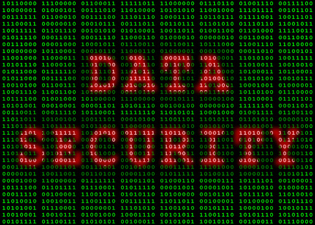 Data security highlighted in red on green binary code