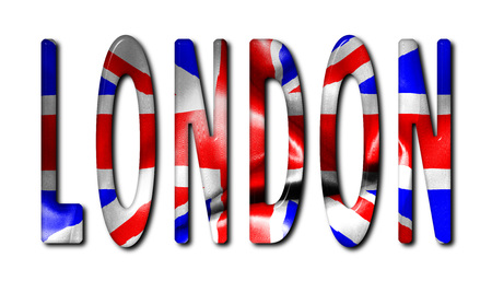 bevel: London word with a beveled flag texture on an isolated white background with a clipping path with and without shadows
