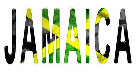 scrunch: Jamaica bevelled wording with a Jamaican flag texture on an isolated white background with a clipping path Stock Photo