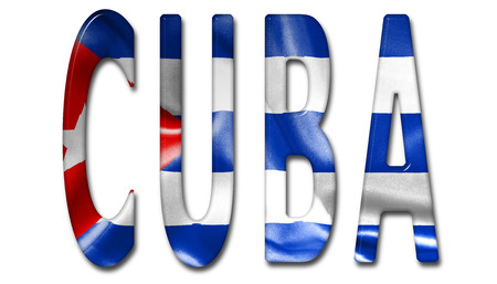 beveled: Cuba word with a beveled flag texture on an isolated white background with a clipping path with and without shadows