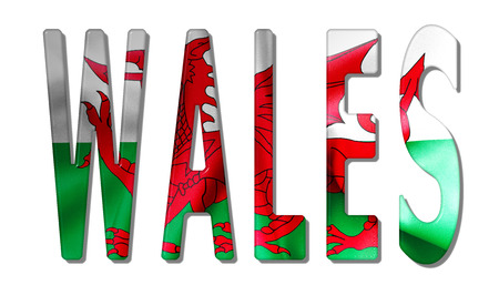 Wales word with a bevelled flag texture on an isolated white background with a clipping path for with and witout shadow