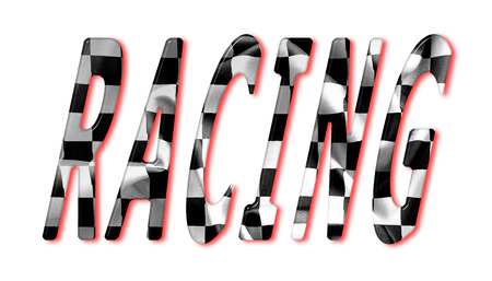 chequered flag: Racing word with a chequered flag effect and red shadows on an isolated white background with clipping path for with and without the shadow Stock Photo