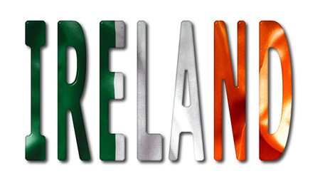 bevel: Ireland word with a bevelled flag texture on an isolated white background with a clipping path with and without shadows Stock Photo