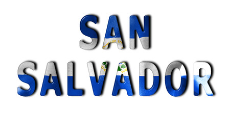 scrunch: San Salvador word with a bevelled El Salvador flag texture on an isolated white background with a clipping path with and without shadows Stock Photo