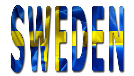 beveled: Sweden word with a beveled flag texture on an isolated white background with a clipping path with and without shadows
