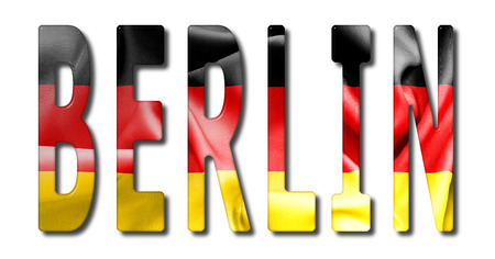 bevel: Berlin word with a bevelled German flag texture on an isolated white background with a clipping path with and without shadows Stock Photo