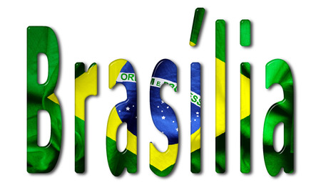 bevel: Brasilia word with a beveled Brazil flag texture on an isolated white background
