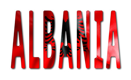 beveled: Albania word with a beveled flag texture on an isolated white background with a clipping path with and without shadows