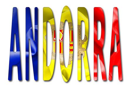 andorra: Andorra Word 3D Illustration With Flag Texture