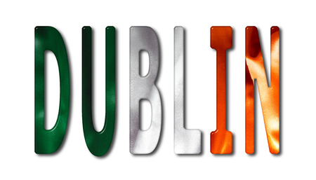 irish cities: Dublin word with a bevelled Ireland flag texture on an isolated white background with a clipping path with and without shadows