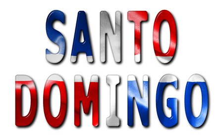 beveled: Santo Domingo word with a beveled Dominican Republic flag texture on an isolated white background with a clipping path with and without shadows Stock Photo
