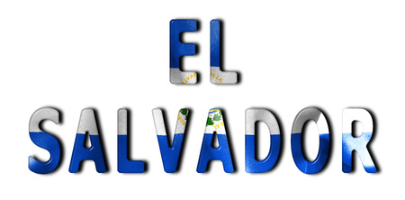 beveled: El Salvador word with a beveled flag texture on an isolated white background with a clipping path with and without shadows