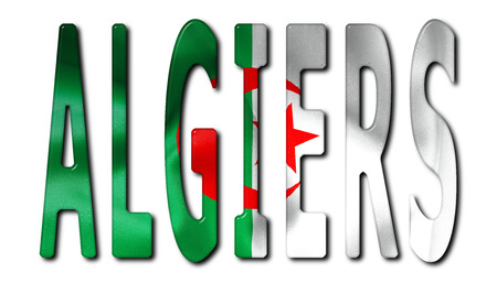 algiers: Algiers word with a bevelled Algeria flag texture on an isolated white background with a clipping path with and without shadows