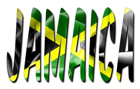 Jamaïque mot avec un drapeau texture biseauté sur un fond blanc isolé avec un chemin de détourage avec et sans ombres