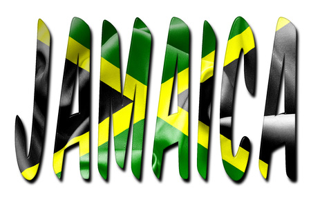scrunch: Jamaica word with a bevelled flag texture on an isolated white background with a clipping path with and without shadows