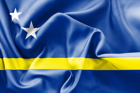 scrunch: Curacao flag texture creased and crumpled up with light and shadows