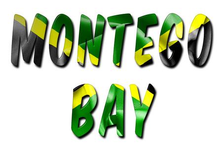 クリッピング パスと影なしで隔離された白い背景に斜めのジャマイカの旗のテクスチャでモンテゴ ベイ単語 写真素材