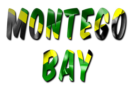 Montego Bay word with a beveled Jamaican flag texture on an isolated white background with a clipping path with and without shadows