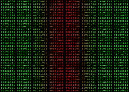 Binary computer data in green and red against a black background with spaces between bytes. Image can be used as a seamless tile as borders are proportionate to spacing Stock Photo