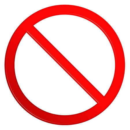 Not allowed red circular sign with a clipping path to allow for additional objects