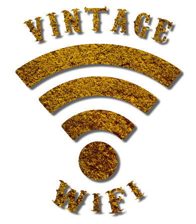 Vintage WiFi logo with a grungy texture and a sepia colour on an isolated white background with a clipping path