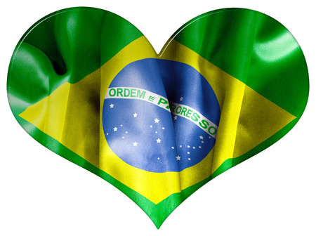 bevel: Brazil flag textured heart shape with a bevel effect on an isolated white background